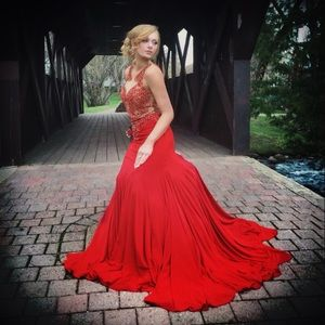 One of a kind red MacDuggal gown